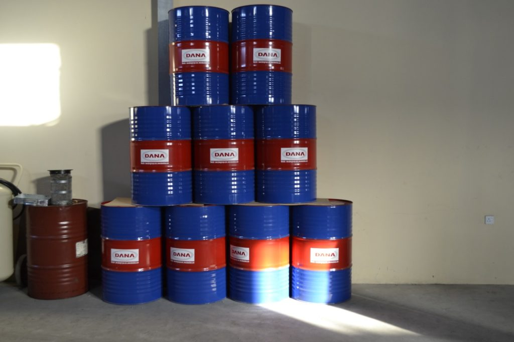 DANA shuttering oil is packed into drums and is then exported to many countries
